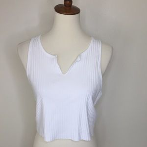 TOPSHOP Ribbed Cropped Muscle Shirt White Size 10
